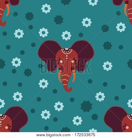 Head of indian ornamental sacred elephant on turquoise background pattern