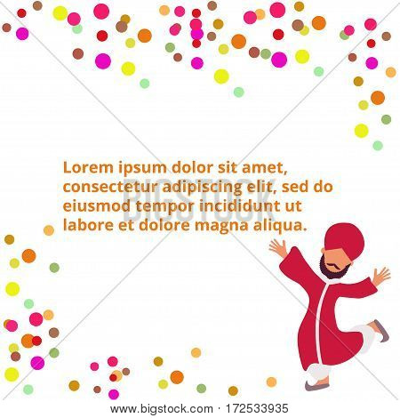 Colourful abstract composition with dots and happy indian man in traditional red clothes