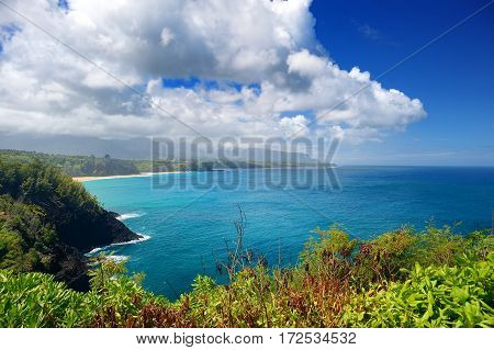 Beautiful serene landscape of Kauai island Hawaii