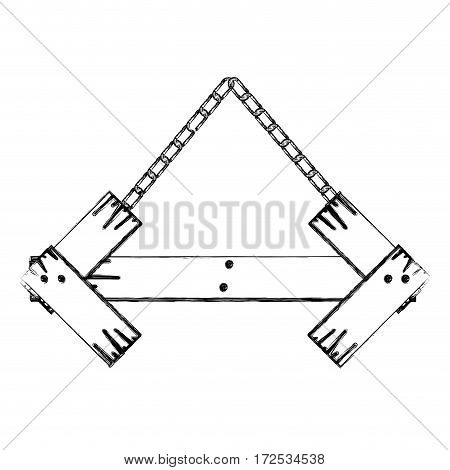 monochrome contour of arrow shape wooden sign board with chains vector illustration