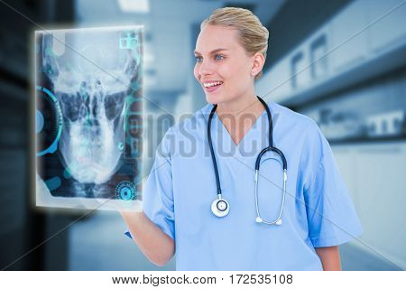 Female surgeon touching something in the air against counter with corridor 3d