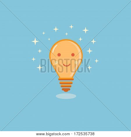 Orange smiling lightbulb with white stars on blue backround