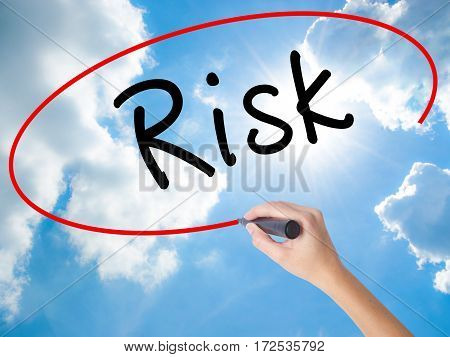 Woman Hand Writing Risk With Black Marker On Visual Screen