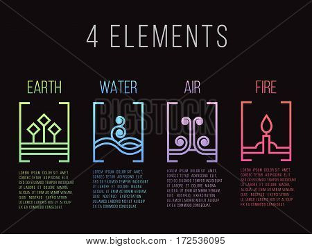 Nature 4 elements line border abstract gradient icon sign. Water Fire Earth Air. on dark background.