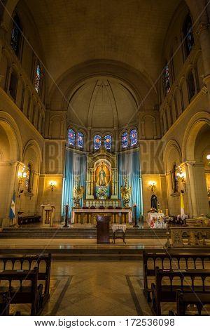 BUENOS AIRES - AUGUST 4, 2017 - church Medalla Milagrosa, Statues of Holy Women in Ð¡hurch Medalla Milagrosa BUENOS AIRES Agentina