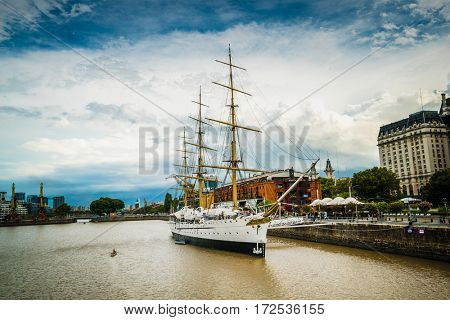 Buenos Aires - February 16, 2017: Museum Frigate Sarmiento President in Puerto Madero, Buenos Aires, Argentina on February 18, 2017