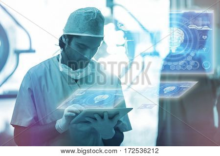 Medical biology interface in blue against surgeon using digital tablet in operation room 3d