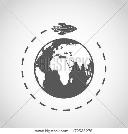 The spacecraft flies around the Earth. Gray space rocket with Globe Earth in flat design on light background. Vector Illustration.