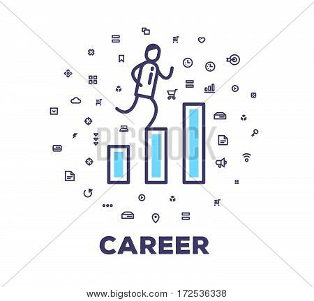 Vector Business Illustration Of A Man Running Up The Stairs Of Graph On White Background With Icon C