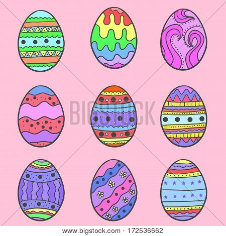 Easter egg set colorful collection vector art