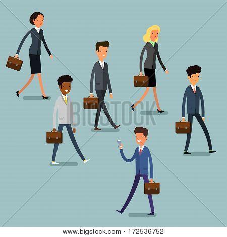 Business concept. Cartoon business people walking. Flat design, vector illustration