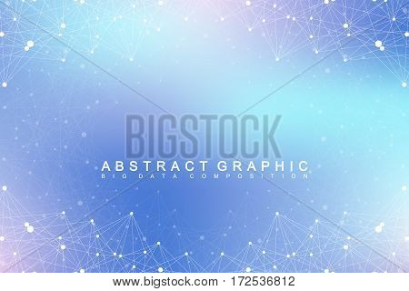 Geometric graphic background molecule and communication. Big data complex with compounds. Perspective backdrop. Minimal array. Digital data visualization. Scientific cybernetic vector illustration poster