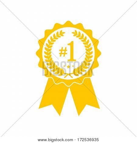 Simple medal icon with ribbon. Yellow medal in flat design isolated. Silhouette of trophy awards or medal. Vector illustration.
