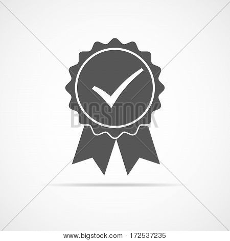 Simple medal icon with ribbons and check mark. Gray medal with shadow in flat design. Silhouette of trophy awards or medal. Vector illustration.