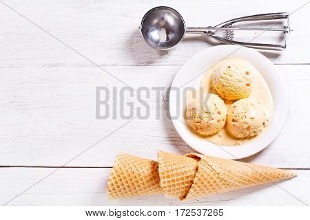 Plate Of Ice Cream Scoops And Waffle Cones