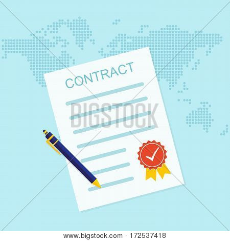 Colored contract icon. Vector illustration. Business contract symbol with ball pen and sealed.