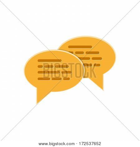 Speech bubbles icon on a white background. Vector illustration. Yellow chat bubble sign isolated.