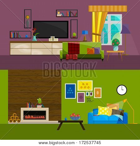 flat interior set for home, living room furniture icons, TV shelf coffee table sofa under the wall and flower on window vector illustration.