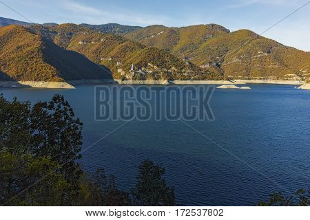 Autumn landscape of Meander of Vacha (Antonivanovtsy) Reservoir, Rhodopes Mountain, Bulgaria