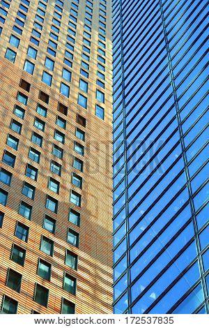 Two buildings look as if connected in Tokyo, Japan