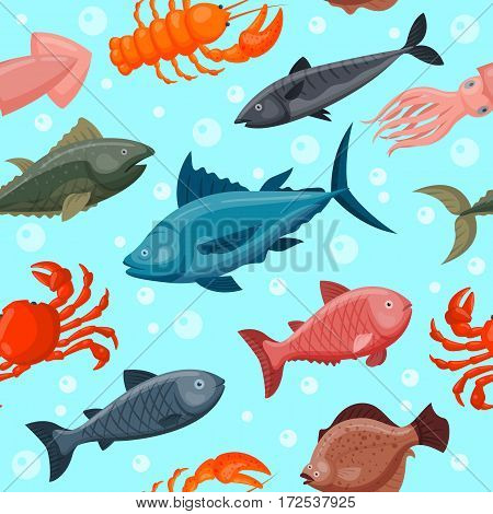 Colorful under water world animals wallpaper with fish, octopus, seahorse starfish and others ocean nature water background graphic aquarium sea life vector illustration. Tropical colorful wildlife.