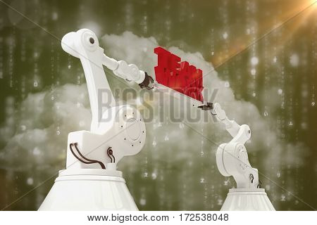 Low angle view of white robotic hand holding team work text against digitally generated black and blue matrix