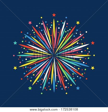 Firework shapes vector illustration. Colorful festive bright collage design brochures poster, wrapping paper, greeting card. Salute anniversary celebration explode icon.