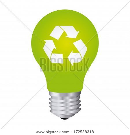 color silhouette with light bulb with recycling symbol vector illustration