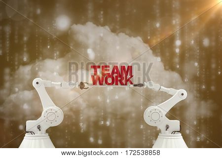 Digitally composite image of robotic hand holding red team work text against digitally generated