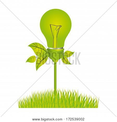 color silhouette with light bulb with leaves and grass vector illustration
