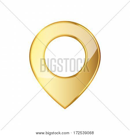 Golden marker location icon. Vector illustration. Golden map pointer isolated on white background.