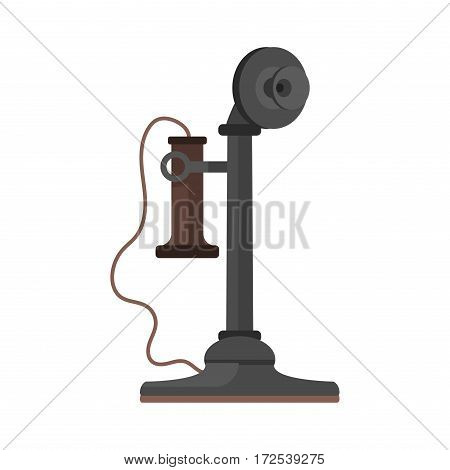 Vintage telephone connection receiver isolated. Classic retro technology support symbol, retro mobile equipment. Communication call contact device vector icon.