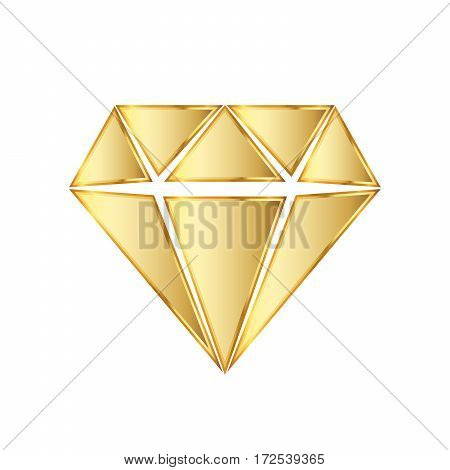 Golden diamod icon. Vector illustration. Golden diamond symbol on white background.