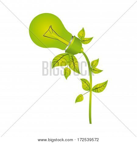 color silhouette with light bulb with leaves and inclined to left side vector illustration