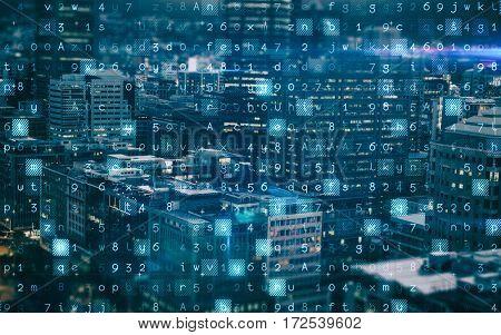 Virus background against illuminated residential buildings in city