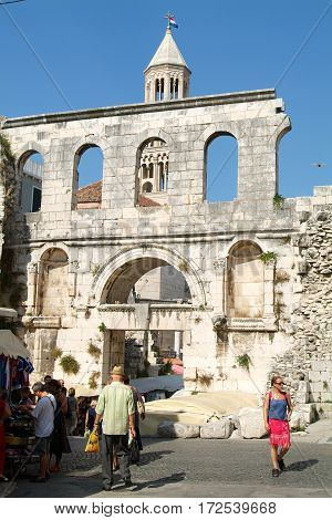 People Walking In Front Of Diocletian Palace In Split
