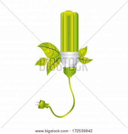 color silhouette with fluorescent lamp with leaves and plug vector illustration
