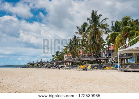 Flic en Flac Mauritius - December 9 2015: Overlooking the public beach of Flic en Flac which is one of the sunniest island of Mauritius with its hotel zone in Flic en Flac bay Mauritius.