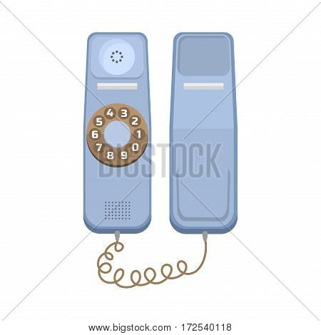 Office telephone connection receiver isolated. Classic retro technology support symbol, retro mobile equipment. Communication call contact device vector icon.