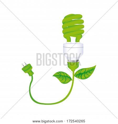 dark green silhouette with spiral fluorescent lamp with leaves and plug vector illustration