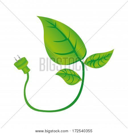 color silhouette with leaves and stem with power plug vector illustration
