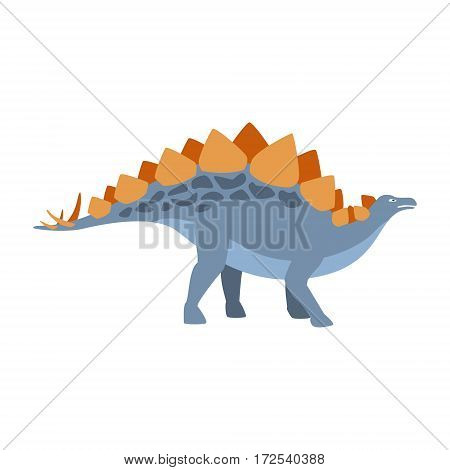 Stegosaurus Dinosaur Of Jurassic Period, Prehistoric Extinct Giant Reptile Cartoon Realistic Animal. Simplified Dinosaur Species Vector Illustration With Recognizable Details Of Ancient Fauna.