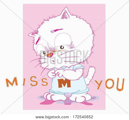 Cute cat cartoon in back ground very sweet pink color have hart shape and word is miss you for girl card Character acting design.