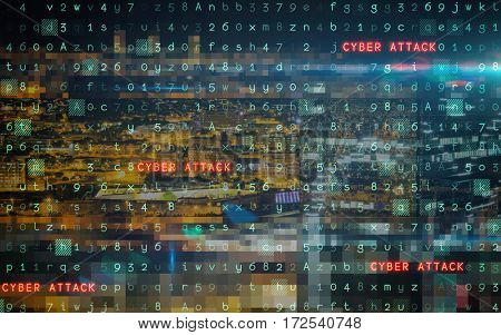 Virus background against high angle view of illuminated crowded cityscape