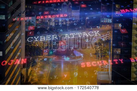 Virus background against illuminated road amidst building at night