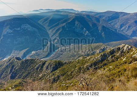 Amazing Panorama of Nestos Gorge near town of Xanthi, East Macedonia and Thrace, Greece