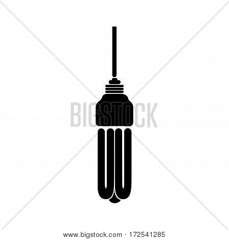 black silhouette with fluorescent lamp vector illustration