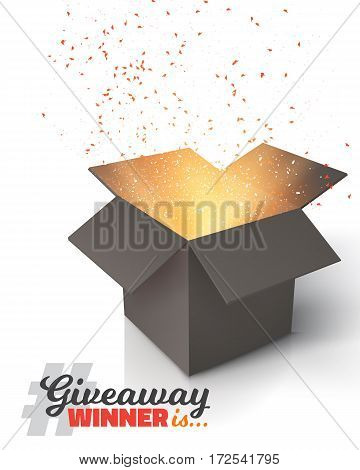 Illustration of Vector Box Isolated on White Background. Giveaway Competition Template. Open Box with Confetti Enter to Win Prize Concept