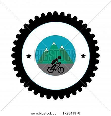 Cycling sport emblem icon vector illustration design