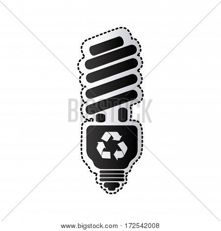 black silhouette sticker with spiral fluorescent lamp with recycling symbol vector illustration